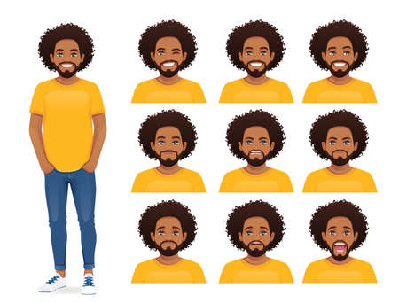 Young african man expression set
