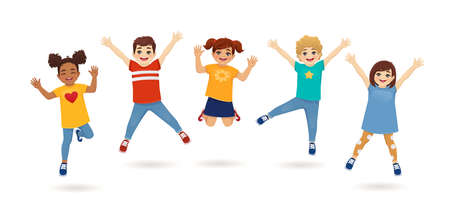 Boys and girls jumping