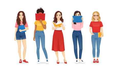 Women with books Ilustracja