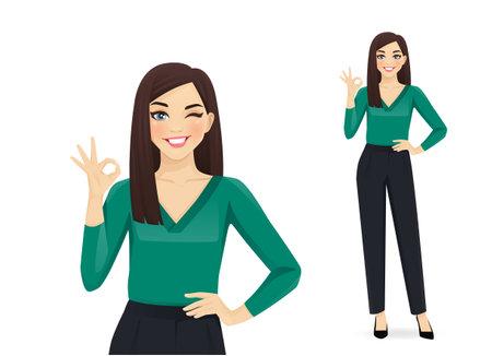 Elegant business woman gesturing ok