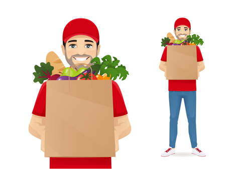 Grocery delivery man Ilustracja