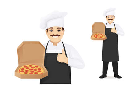 Man chef with pizza
