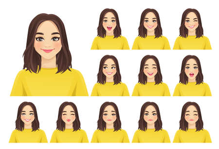 Woman expressions set