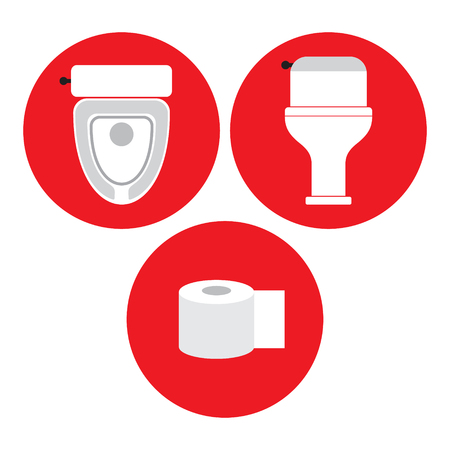 Toilet, toilet paper, toilet pan in red circle, icon, vector illustration