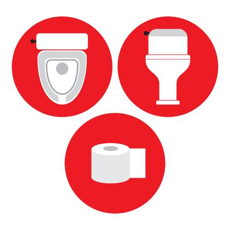 Toilette, Toilettenpapier, Toilettenwanne im roten Kreis, Ikone, Vektorillustration Standard-Bild