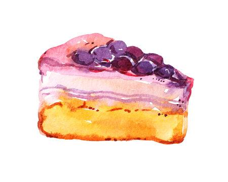 Tart, pie, cake with jellied berries, isolated on white background, watercolor illustration
