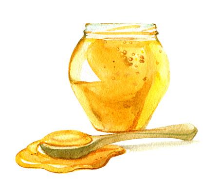 Glasgefäß Honig, Löffel des Honigs lokalisiert auf weißem Hintergrund, Aquarellillustration Standard-Bild - 94910441