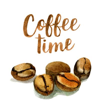 Kaffeebohnen mit der Beschriftung Kaffeezeit lokalisiert auf Weiß, Aquarellillustration Standard-Bild - 94910455