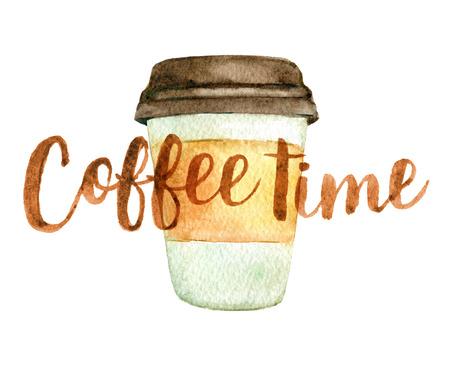 Kaffeetasse mit der Beschriftung Kaffeezeit lokalisiert auf Weiß, Aquarellillustration Standard-Bild - 94910464