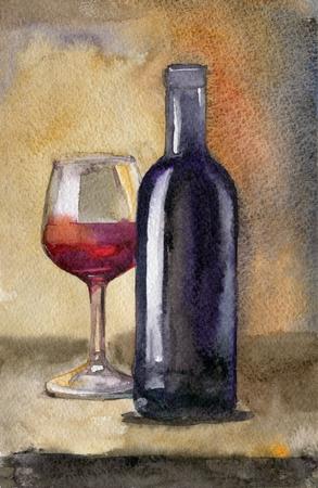 Flasche Wein mit Glas auf dunklem Hintergrund, Stilllebenaquarellillustration Standard-Bild - 96165761