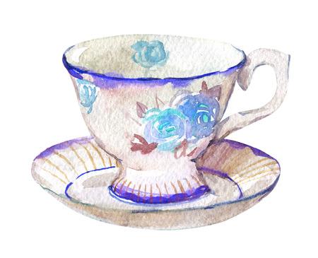 Tasse und Untertasse, lokalisiert auf weißer Hintergrundaquarellillustration Standard-Bild - 96165765