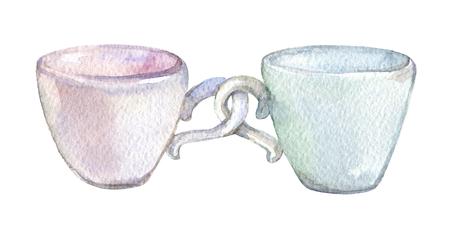Zwei Schalen, lokalisiert auf weißer Hintergrundaquarellillustration Standard-Bild - 96165766