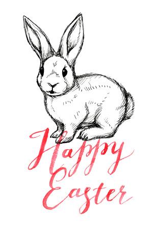 Ostern-Kaninchen mit Beschriftung fröhliche Ostern, Aquarellillustration des Handabgehobenen betrages Standard-Bild - 97368152