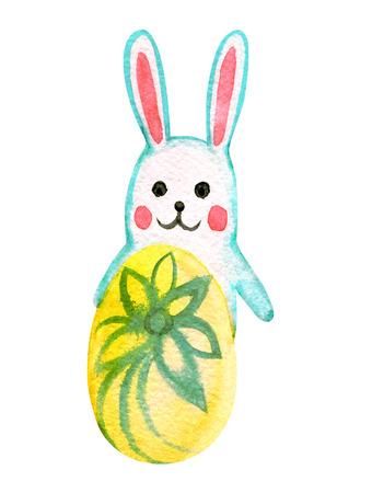 Divertido conejo de pascua con huevo, ilustración acuarela Foto de archivo - 97310598