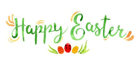 Glückliche Ostern-Beschriftung mit Eiern, Aquarellillustration Standard-Bild - 97322939