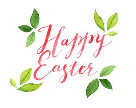 Glückliche Ostern-Beschriftung mit Blättern, Aquarellillustration Standard-Bild - 97368151