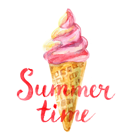 Summer time lettering and watercolor ice cream in waffle cone, isolated Standard-Bild - 104883350