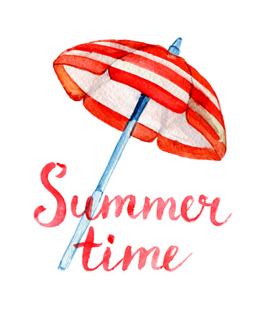 Summer time lettering and watercolor beach umbrella, isolated on white Standard-Bild - 103067021