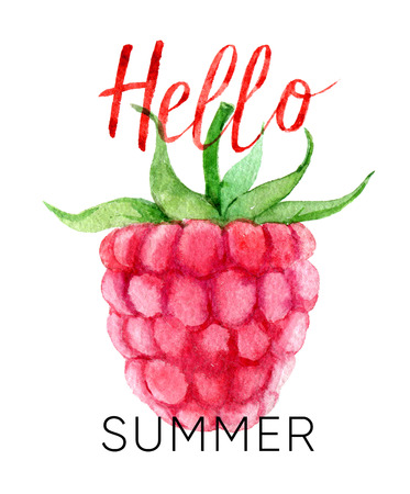 Hello summer lettering and watercolor raspberry, isolated on white Standard-Bild - 104883353