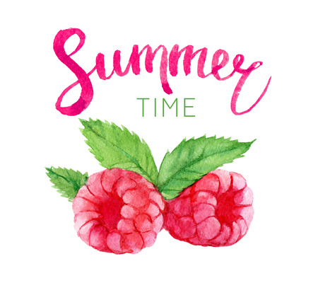 Summer time lettering and watercolor raspberry, isolated on white background Foto de archivo - 103053996