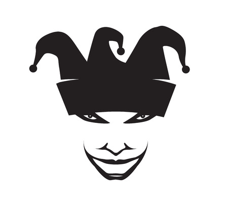 Laughing joker head for your design, vector illustration