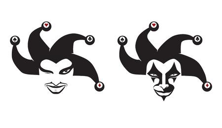 Set of jokers head. Jesters. Buffoons. For your design, vector illustration Standard-Bild - 116495950