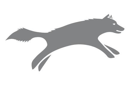 Vector running wolf silhouette Standard-Bild - 116495952