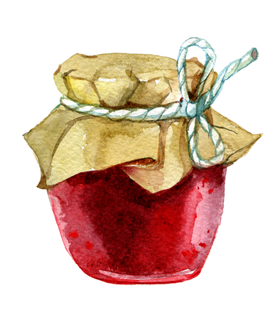 Jar with jam. Isolated on white background, watercolor illustration Standard-Bild - 116495968