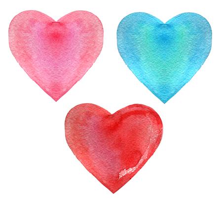 Set of watercolor heart, isolated on white background, illustration Standard-Bild - 116495976