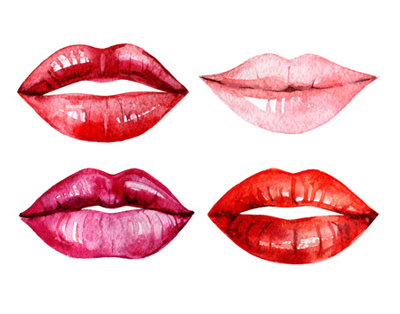 Set of watercolor lips, isolated on white background, illustration Standard-Bild - 116495978