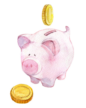 Piggy bank with watercolor illustration Standard-Bild - 116495986