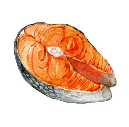 Salmon steak isolated on white background, watercolor illustration Foto de archivo - 135833996