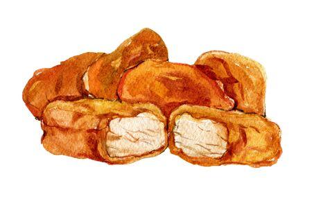 Chicken Nuggets on white, watercolor illustration Foto de archivo - 135834067