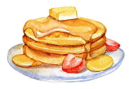 Pancakes isolated on white background, watercolor illustration Foto de archivo - 135834074