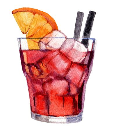 Cocktail with watercolor on white background, watercolor illustration Foto de archivo - 135834075