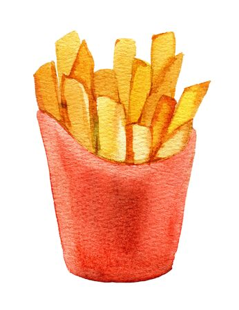 French fries in red cardboard box, isolated on white background, watercolor illustration