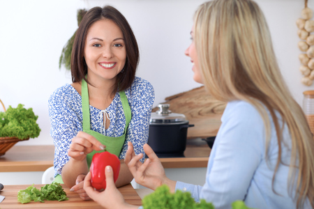 Two young happy women are cooking in the kitchen. Friends are having fun while preapering healthy and tasty meal. Stock Photo