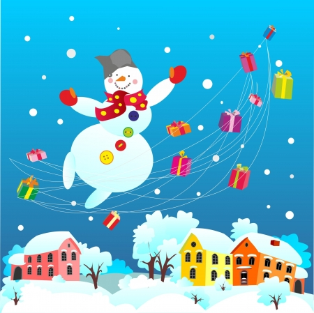 Snowman carries gifts  to the New Year  Illustration