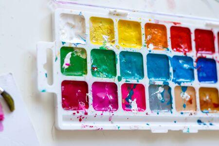 bright watercolor paints on light background. watercolor background. bright watercolor palette Banco de Imagens