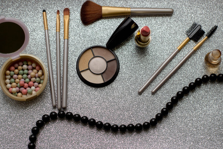 Set of cosmetic for makeup and beauty accessories
