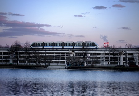 City land transport. Monorail rides near Ostankino pond and Ostankino television center. Moscow, Russia
