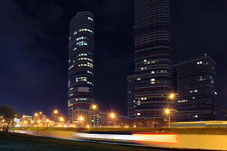 Landscape of  a big city at night with lights and high-rise buildings. Moscow, Russia, Rostokino district Imagens