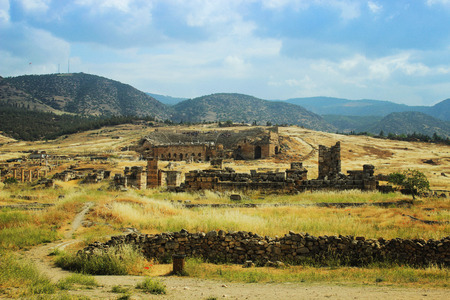Ancient theater in Hierapolis. Front of view, Turkey,Pamukkale. Stock Photo