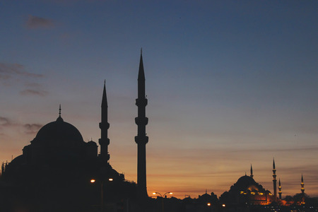 Silhouette of mosques of the night city of Istanbul, Turkey Stock Photo