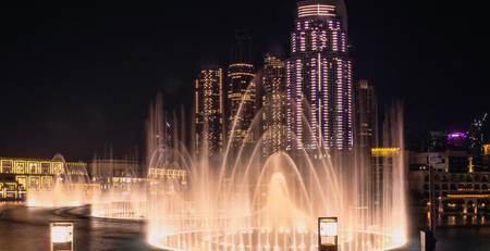 View from the observation platform at the singing fountains and Dubai Mall. Dubai, May 2019 Stok Fotoğraf - 123514936