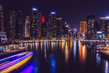 Dubai Marina district at night. Dubai at May 2019. Reklamní fotografie