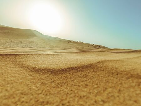 Sand dunes of the desert close up in Dubai with sunlight.