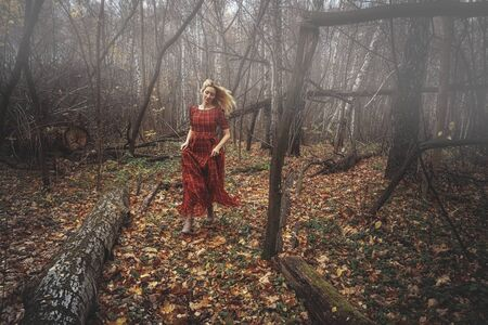 Young pretty woman in the red dress is walking in the foggy mystical forest.
