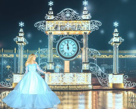 Beautiful princess in blue long dress runs away from the queens ball when the clock is struck 12pm. Art processing