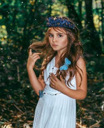 Cute little princess girl with blue butterflies in the forest. Art processing. Stok Fotoğraf